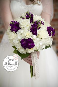 rose hydrangea bouquet | Dill's Summer Romance Plum and White Rose and Hydrangea Bridal Bouquet