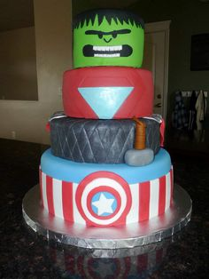 "Avengers cake! Hulk, Iron Man, Thor & Captain America-- little boy's DREAM SUPERHERO cake!! Done by ""Imagine That Custom Cakes"""