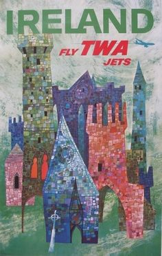 Beautiful vintage travel poster for Ireland. TWA no longer exists. I remember flying it years ago.