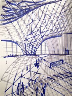 Lines, curves so impactful sketching with paint and pen. Interior view of a building envelope. #sketch #sketching #interiorview #building #envelope #paint #brush #pen #architecture #sketchy #mood #inspiration #follow #pins #boards @aboutdesignworld