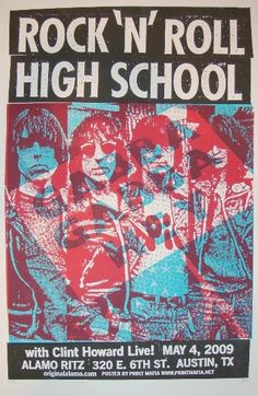 Rock 'N' Roll High School - silkscreen movie poster (click image for more detail) Artist: Print Mafia Venue: Alamo Ritz Location: Austin, TX Date: Edit Rock Posters, Band Posters, Concert Posters, Music Posters, Ramones, Joey Ramone, Rock N Roll, High School Movies, Music Documentaries