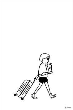 Illustration by Yu Nagaba for functional luxury luggage manufacturer Rimowa Illustration Art Dessin, Illustration Design Graphique, Simple Illustration, Character Illustration, Portrait Illustration, Minimalist Drawing, Rimowa, Simple Doodles, Art Studios
