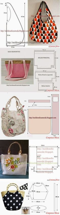 Various handbags with patterns.  Sew the summer.  - Needlework Club - Country Mom