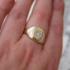 Oro y el diamante del anillo de signet - anillo de diamante anillo de sello - sello de anillo de oro - amarillo 9ct - Mens oro anillo - joyas vintage British
