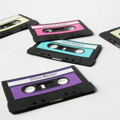 PLACE HOLDERS: Since Purple Rain is a movie from the and it is about music, I think cassette tape name cards would be great. Party Fiesta, Neon Party, Disco Party, Retro Party, 80s Birthday Parties, Music Themed Parties, Diy Party Decorations, Party Themes, Party Ideas