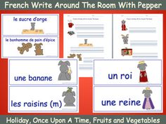 """Print and post Pepper's cards around the room for students to find. Students write the words next to the matching pictures on their printed sheets.  For each topic there are 14 words and 2 doubled-sided writing sheets.  The """"Once Upon A Time"""" topic also includes a """"My Fairy Tale"""" sheet."""
