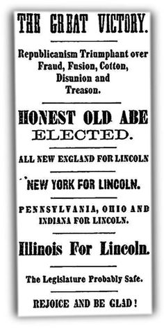 Newspaper headline from 11/8/1864 announcing Lincoln's re-election.