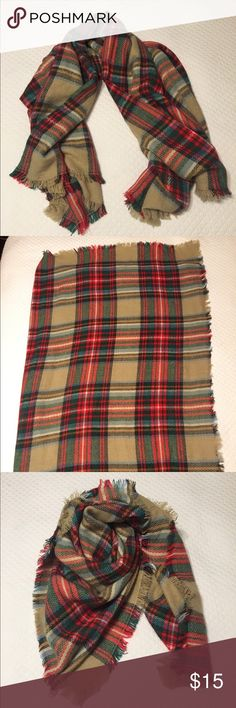 Khaki and Red Plaid Blanket Scarf Super cute, lightweight plaid eyelash fringe Blanket Scarf! Worn 1x, like new, non-smoking environment, no flaws! Approx 52 x 56. Khaki, Red, Green, Blue/white plaid Accessories Scarves & Wraps