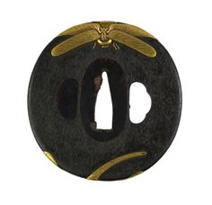 """yama-bato: """" [+] century sword-guard (tsuba) Two dragonflies appear to be flying around the edges of this tsuba. On the front, one dragonfly comes over the top, when the tail of the second is. Samurai Weapons, Katana Swords, Samurai Swords, Japanese Prints, Japanese Design, Martial, Art Chinois, Art Japonais, Japanese Sword"""