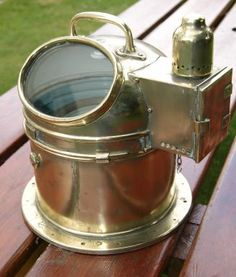Royal Navy Binnacle Compass a excellent example of a Naval brass compass binnacle. Complete and fully working with gimballed compass A excellent example of a Naval brass compass binnacle. Complete and fully working with gimballed compass Vintage Compass, Royal Navy, Kettle, Barware, Nautical, Sailing, House Ideas, Polish, Brass
