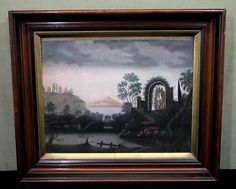 19thC Antique Folk Art Colored Marble Dust Sand Paper Landscape Drawing  16x20.
