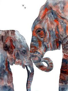 Elephant Watercolor Animal Art   Big Daddy by CallOfTheAnimals2