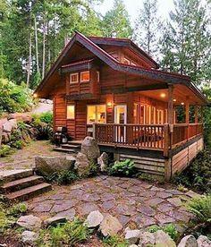 70 Fantastic Small Log Cabin Homes Design Ideas - House - Small Log Cabin, Log Cabin Kits, Tiny Cabins, Log Cabin Homes, Cabins And Cottages, Cabin Plans, House Plans, Small Log Homes, Rustic Cabins