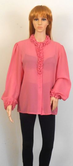 Women's Pink Blouse with Ruffles  Jamboree by VintageElations