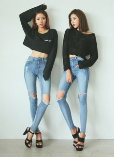 [DABAGIRL] RIPPED KNEES HIGH WAIST SKINNY JEANS