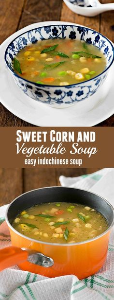 Sweet corn vegetable soup is popular soup recipe from Indo Chinese cuisine. This soup is prepared with fresh sweet corn and lots of vegetables. One of the easy to cook soup recipe sweet corn soup is flavourful and packed with healthy vegetables Corn Vegetable, Vegetable Soup Healthy, Vegetarian Soup, Healthy Vegetables, Healthy Soup, Vegetarian Recipes, Cooking Recipes, Chinese Vegetable Soup, Chinese Chicken