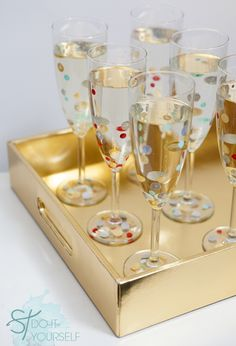 DIY Confetti Polka Dot Champagne Glasses with Martha Stewart Paint