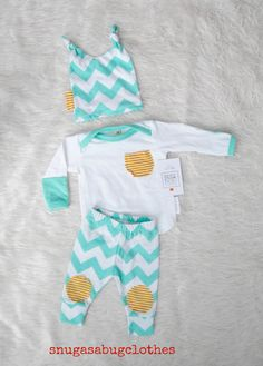 Mint Chevron Baby Boy Coming Home Outfit with by SnugAsaBugClothes, $56.00