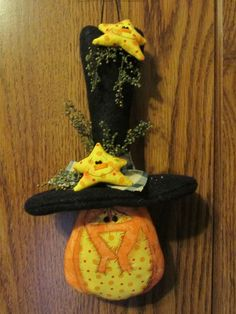 Primitive Hand Crafted Halloween Pumpkin in Top Hat w Stars Ornie Tuck Bowl Fill #Country