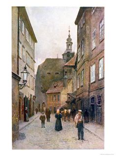 size: Giclee Print: Maiselova Ulice, Prague, Illustration from 'stara Praha by Vaclav Jansa : Artists La Pie Monet, Yosemite National Park, National Parks, Prague Old Town, Socialist Realism, Old Town Square, Old Paintings, Reproduction, Old City