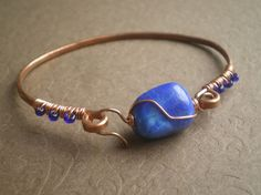 Lapis Hammered Copper Bangle Bracelet by IvyTalagaDesigns on Etsy, $38.00 - interesting