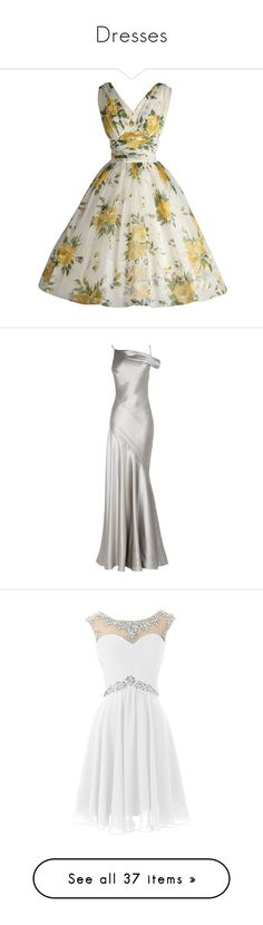 """""""Dresses"""" by stephygay ❤ liked on Polyvore featuring dresses, vestidos, vintage, vintage dresses, yellow dress, chiffon cocktail dress, white dresses, white cocktail dress, ruching dress and gowns"""