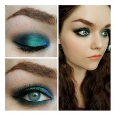 Mermaid Eyes FT Urban Decay Alice Through The Looking Glass Eyeshadow... ❤ liked on Polyvore featuring eyes