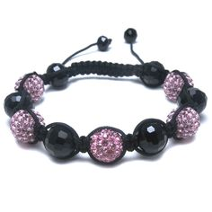 Black Glass & Multi Pink Diamante Bead Fashion Bracelet, Puckator USA & Canada Giftware Wholesalers