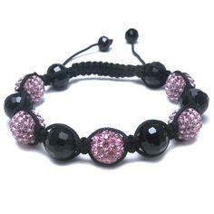 Black Glass & Multi Pink Diamante Bead Fashion Bracelet, Puckator USA & Canada Giftware Wholesalers