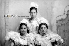 Princess Bamba, Sophia, Catherine Duleep Singh. Daughters of Maharaja Ranjit Singh. Born to Sikh parents but raised Christian. Photographed at a formal presentation at court in 1892 in their stunning débutante dresses.