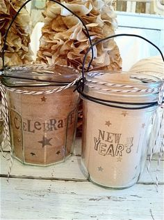 line jars with stamped paper to create votives with a special message