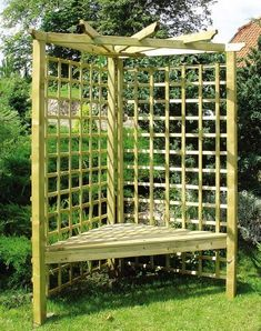 Corner seat garden patio by ZEST, http://www.amazon.co.uk/dp/B00BPVG0IE/ref=cm_sw_r_pi_dp_wJZTrb0MRS7M9  This Wooden corner garden bench has pergola trellis attached and is of a very high quality. Perfect as a garden seat at any corner of your garden or patio. This product will with stand all weather. Will look great in any size garden. The trellis is perfect for growing climber plants on, as it will encourage the plants to grow around the bench. Sold on Amazon by Best4Garden.
