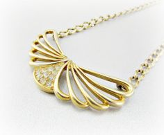 Vintage Gold Choker Necklace, Rhinestone Necklace, Gold Wing Necklace, Angel Wing Necklace, 1970s Retro Modern Costume Jewelry by RedGarnetVintage, $18.00