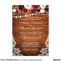 Rustic Wedding Floral Lace Wood Photo Invitation Burgundy Wedding Invitations, Country Wedding Invitations, Wedding Invitation Cards, Invite, Fall Wedding, Rustic Wedding, Photo Invitations, Event Invitations, Lace Weddings