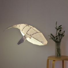 Humpback Whale DIY Pendant Paperlamp pre-cut papercraft | Etsy Origami Lampshade, Paper Lampshade, Led Color, Fish Lamp, Papier Diy, Diy Kit, Humpback Whale, Paper Models, Colored Paper