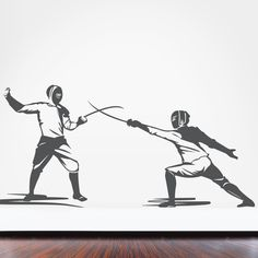 Unguard! Fencing fans will love this #decal of fencers dueling! #sportsroom