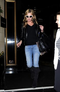 Kate Moss Leather Jacket - Leather Jacket Lookbook - StyleBistro