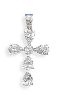 Fancy Pear CZ Cross