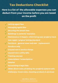 Tax Deductions {Allowable Expenses} Checklist – NC Real Estate Nc Real Estate, The Tenant, Tax Deductions, Investment Property, Property Management, Being A Landlord, Investing