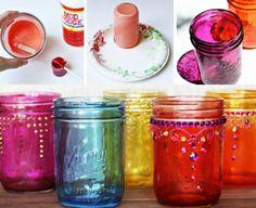 Mason Jar Coloured Glass Tutorial