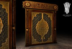 Mosque Doors - High Quality Grand Mosque Doors are hand carved doors with gold cast features also made by hand and designed by Kny Design Austria - www-kny-design.com Grand Mosque, Lighting Solutions, Glass Design, Islamic Art, Lighting Design, Austria, Hand Carved, It Cast, Carving
