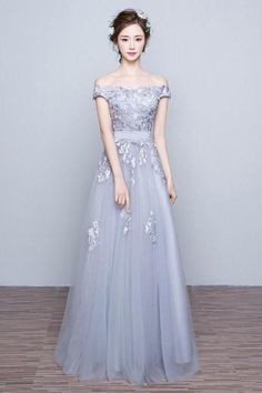 Gray prom dress, off shoulder prom dress,lace applique long prom gown,tulle evening gowns