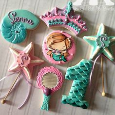 Mermaid cookies~                            by you can call me sweetie, teal, pink crown, pink starfish
