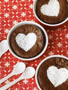 Valentine hearts with powdered sugar! Valentine's day, easy touch to add to the desert, not just for Valentine's day!