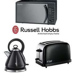 Black Stainless Steel Microwave Kettle And Toaster Set – Russell Hobbs