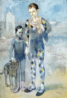 Pablo Picasso, Two acrobats with a dog, Beginning of the Rose Period and final of the Blue Period