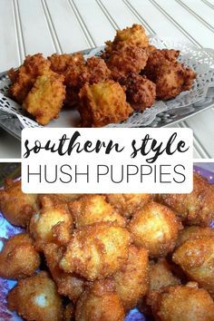 """""""Living on the coast of North Carolina, we love Calabash style seafood and hush puppies. I serve these hush puppies hot with homemade honey butter and fresh local fish fried up crispy and golden, MMMM MMMMM! I hope y'all enjoy these wonderful hush puppies Seafood Dishes, Seafood Recipes, Appetizer Recipes, Appetizers, Dinner Recipes, Catfish Recipes, Fried Fish Recipes, Fried Fish Side Dishes, Fried Fish Sides"""