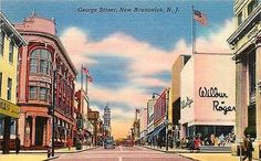 New Brunswick New Jersey NJ 1940 Downtown George Street Antique Vintage Postcard New Brunswick New Jersey NJ 1940s Downtown on George Street with National Bank and Wilbur Rogers on right. Unused antiq