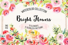 Watercolor Bright Flowers by Spasibenko Art on @creativemarket