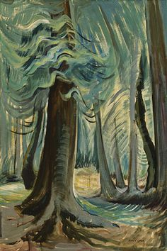 Deep Forest, Lighted - Carr, Emily (Canadian, 1871 - Fine Art Reproductions, Oil Painting Reproductions - Art for Sale at Galerie Dada Tom Thomson, Canadian Painters, Canadian Artists, Emily Carr Paintings, Deep Paintings, Group Of Seven Paintings, Group Of Seven Art, Deep Forest, Forest Light